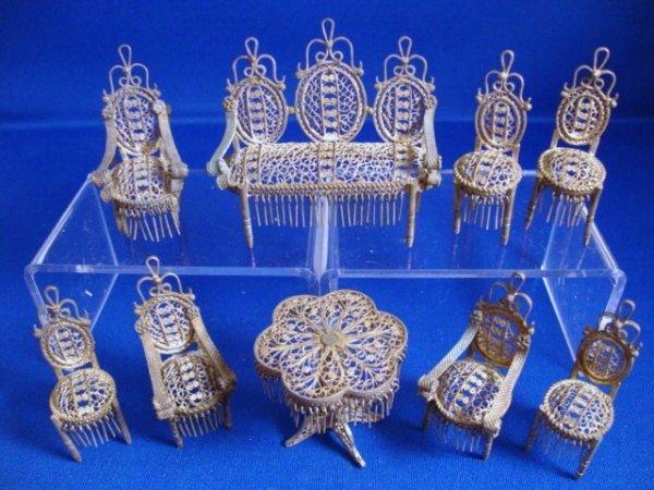 482: Miniature Silver Filigree Furniture