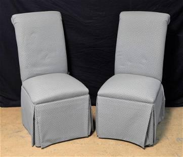 Pair Green Upholstered Slipper Chairs