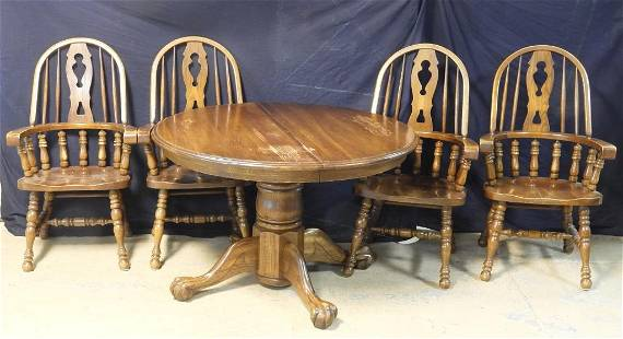 Oak Table & Four Windsor Chairs