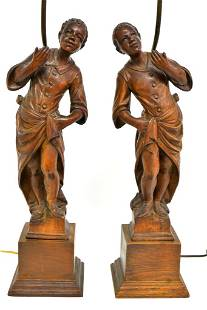 Pair Antique Blackamoor Carved Statues Turned Into