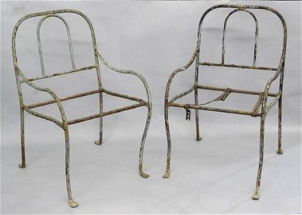 Pair Antique Iron Child's Lawn Chairs
