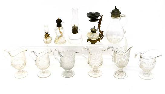 19th Century Glass Creamers & Lamps