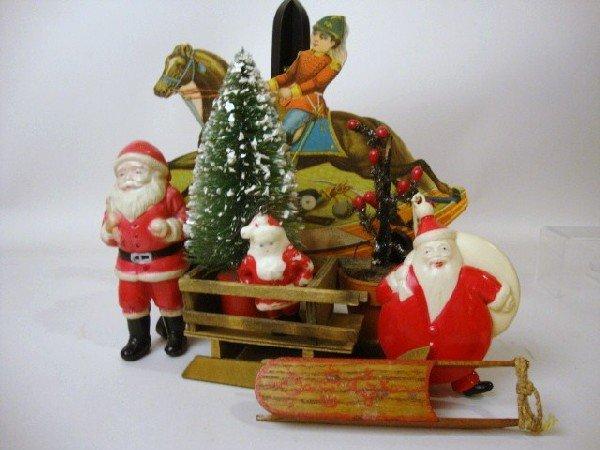8: Celluloid Santa's, Sled, Sleigh, etc
