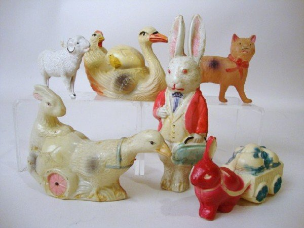 18: Celluloid Rabbits, Cat, etc