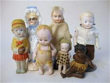 34: Lot of Seven Small Bisque Dolls