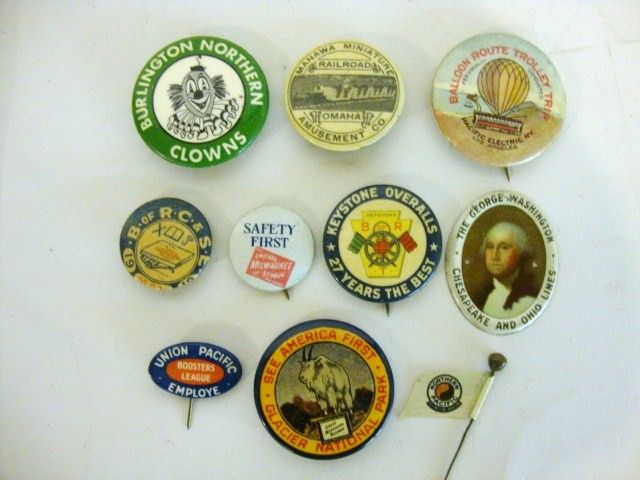 Railroad Pin Back Buttons