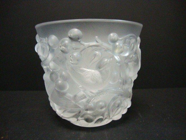 808: Lalique Vase Birds Among Grapes