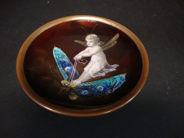 817: Signed Enamel over Copper Compote