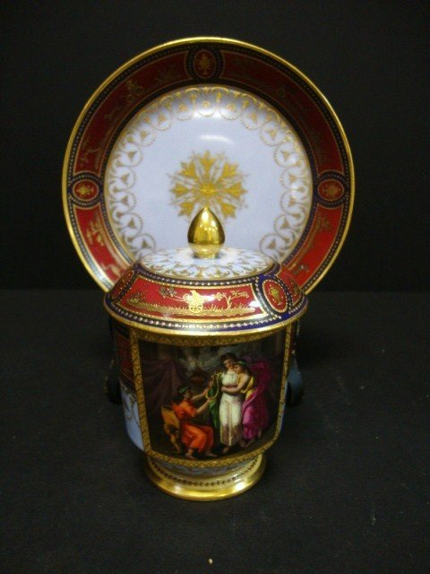 819: Royal Vienna Covered Cup on Plate