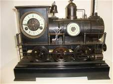 849 BronzeMarble Steam Locomotive Clock