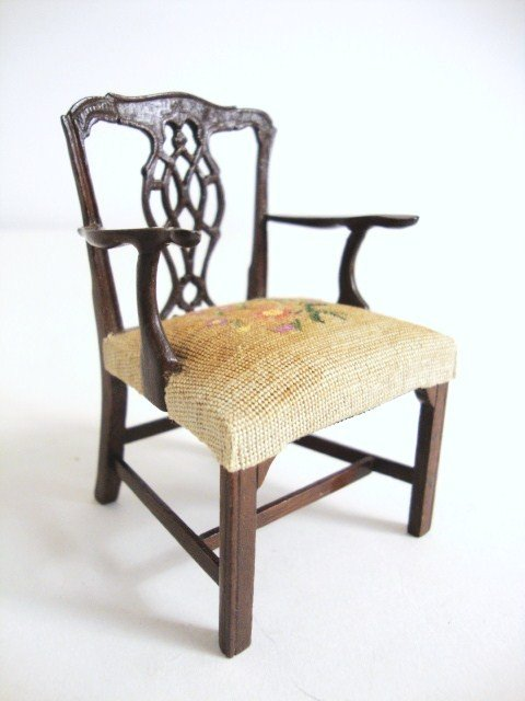 197: Eric Pearson Chippendale Chair with Petitpoint Sea