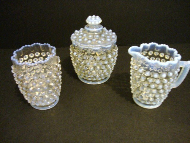 5: Child's Opalescent Hobnail Table Set