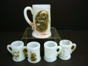 Child's Milk Glass Stein Set