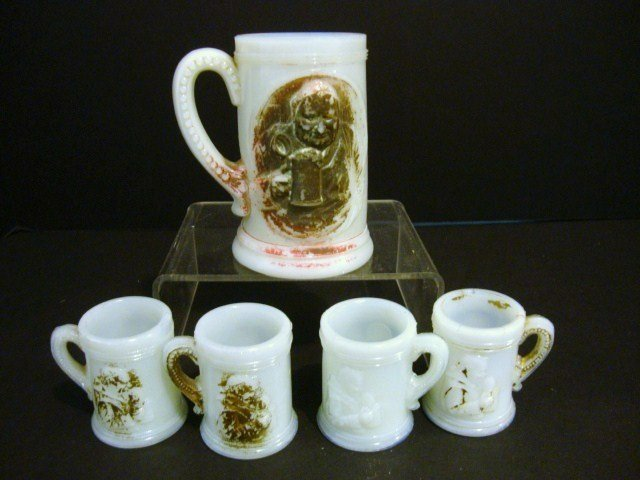 10: Child's Milk Glass Stein Set