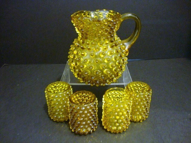 14: Child's Amber Hobnail Water Set