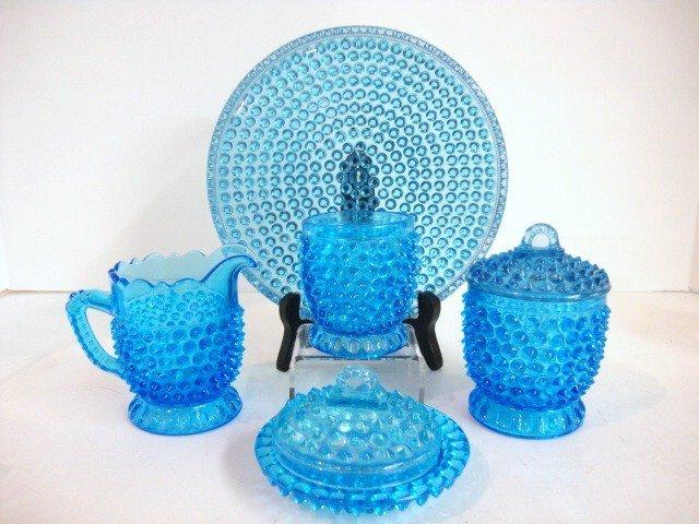 83: Childs Blue Hobnail Table Set
