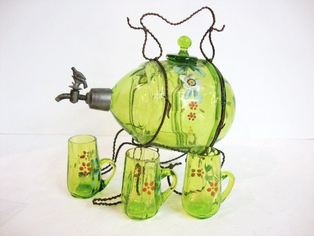 95: Child's Early Glass Wine Set on Stand