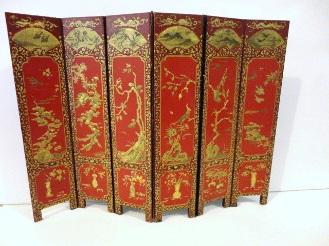 403: Linda Wexler Red Lacquer Folding Screen