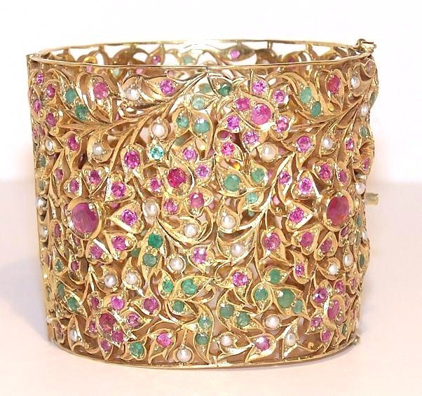 1: Gold Ruby Emerald Pearl Large Cuff Bangle Bracelet