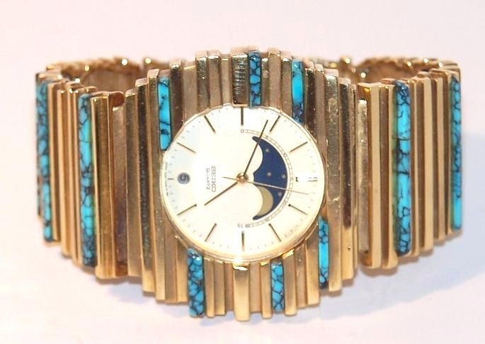 3: 18K Arthur King Seiko Watch with Turquoise