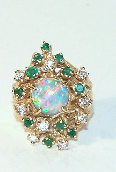 8: Arthur King 14K Opal Diamond Emerald Ring