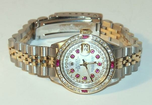 10: Rolex Ladies Stainless and Gold Datejust with Rubie
