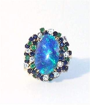 15: Arthur King 14K Black Opal Emerald Sapphire Diamond