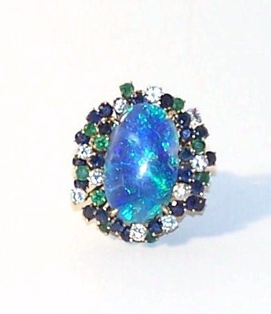 15: Arthur King 14K Black Opal Emerald Sapphire Diamond