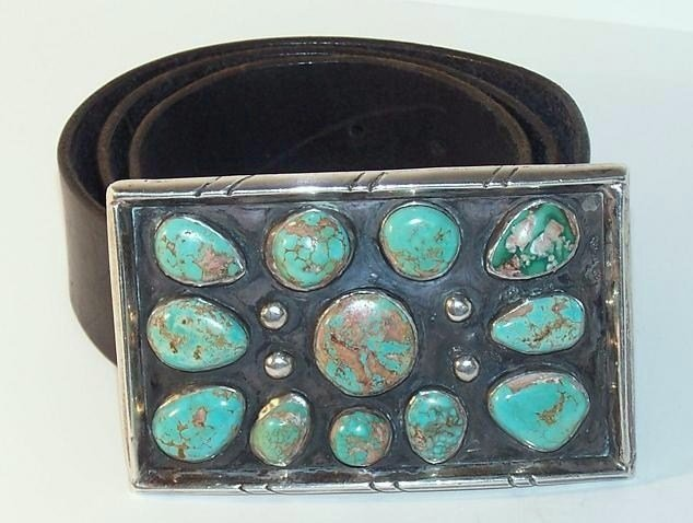 20: Navajo Sterling Turquoise Belt Buckle