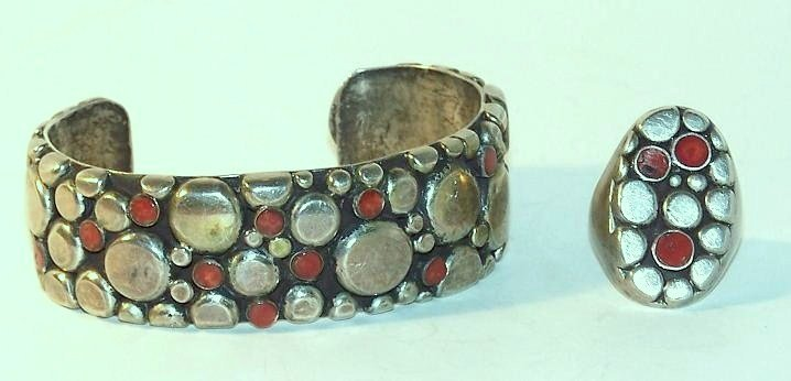24: Silver Zuni Matching Cuff and Ring