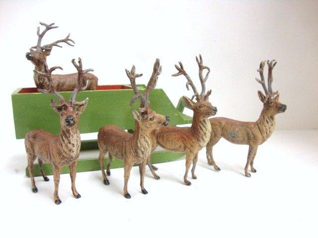 13: German Cast Iron Reindeer & German Sleigh