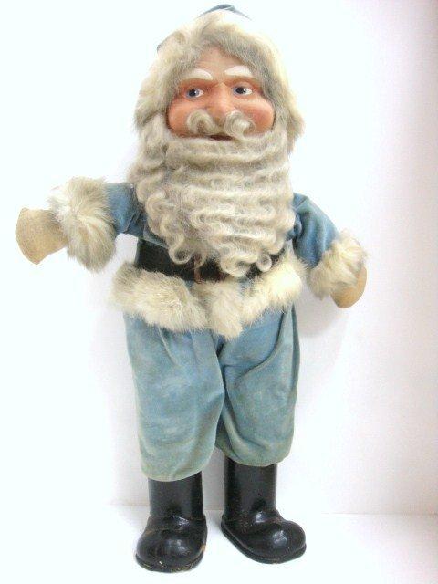16: Blue Suited  Cloth Face Santa