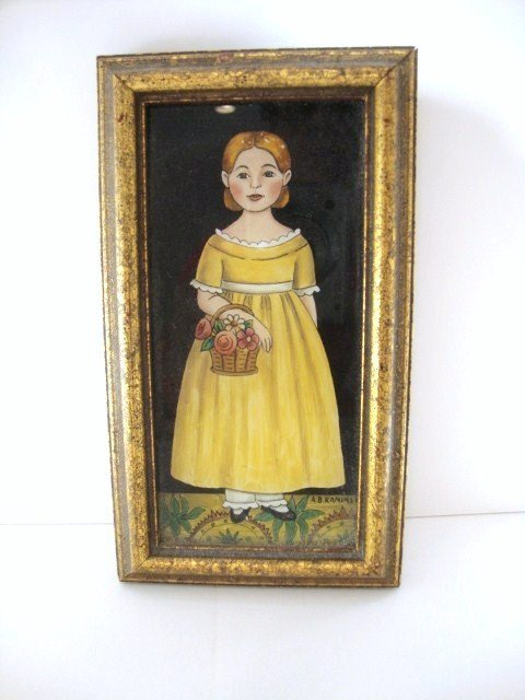 18: Reverse Glass Painting of Child