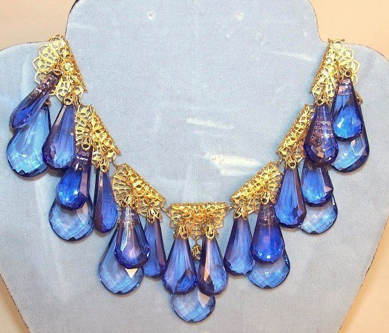 11: Blue Crystal Runway Necklace