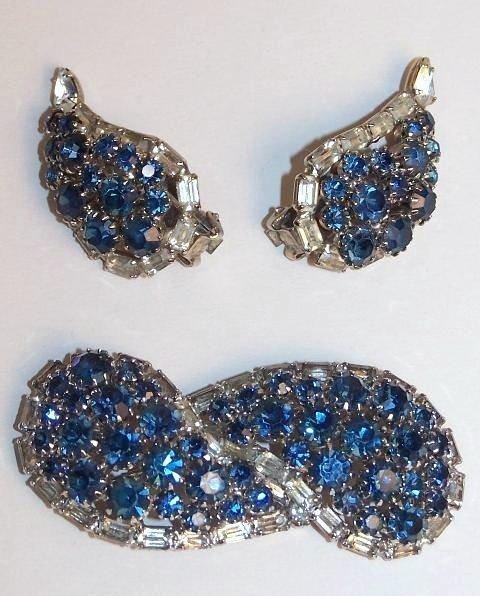 19: Hobe Blue AB Rhinestone Pin and Earrings