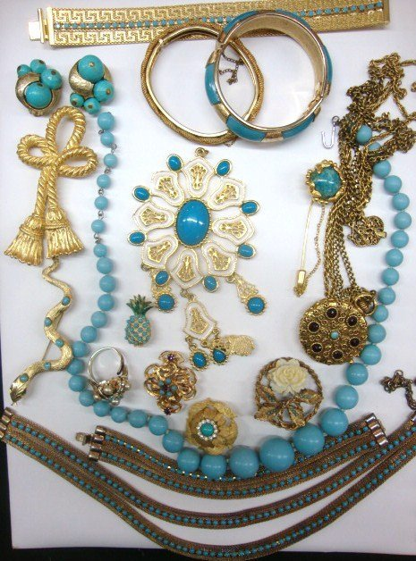 Vintage Costume Jewelry Blue & Gold