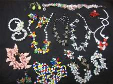 Vintage Costume Jewelry Colored Glass