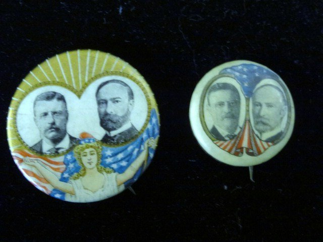 Two Roosevelt and Fairbanks Political Buttons