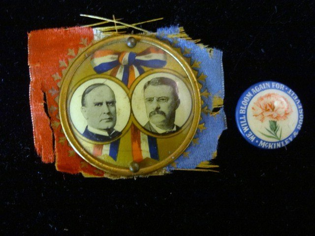 Two McKinley Roosevelt Political Buttons
