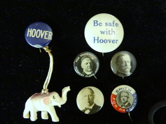 Six Political Buttons, Taft, Hoover, Al Smith