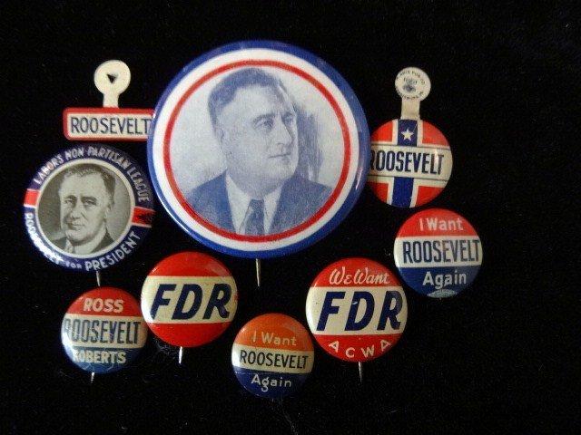 Nine FDR Political Buttons