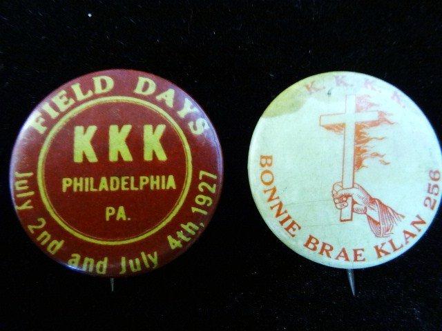 Two KKK Pinback Buttons