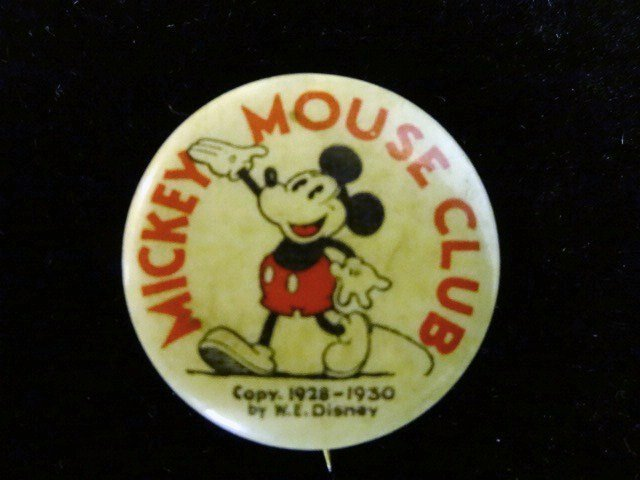 Mickey Mouse Club Button 1928-1930