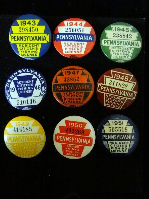 Nine PA Fishing License Buttons