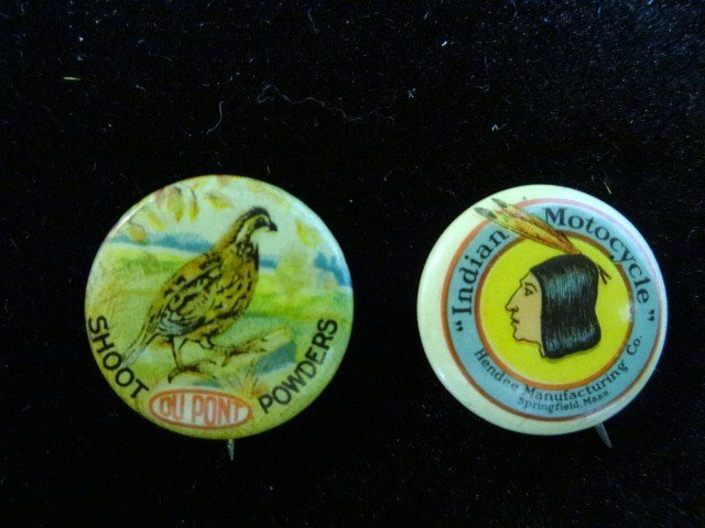 DuPont Powder and Indian Motorcycle Buttons