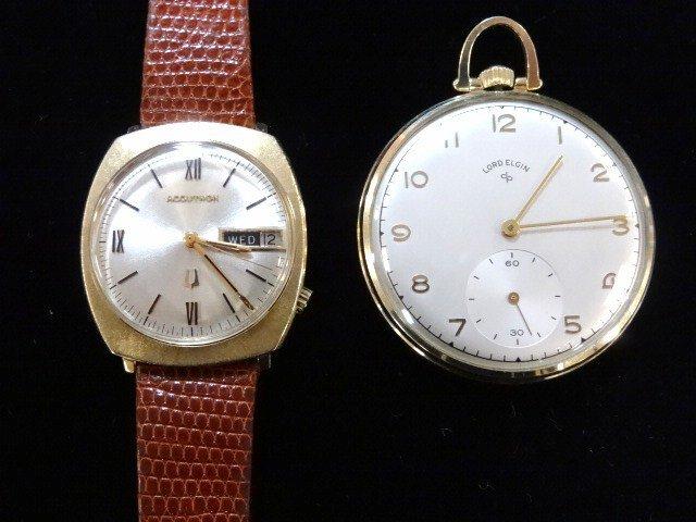 14 Kt.Accutron Man's Watch & Lord Elgin  Pocket Watch