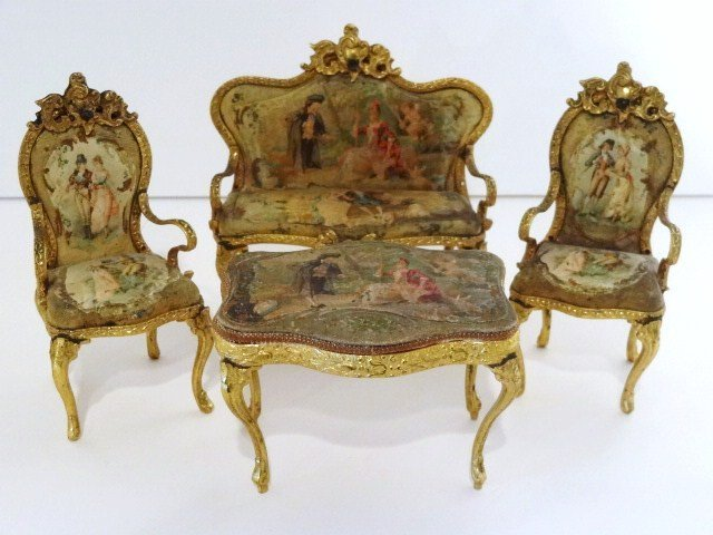 Antique Ormolu Upholstered Parlor Suite
