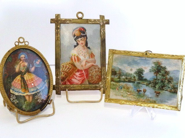 Three Antique Framed Miniature Pictures