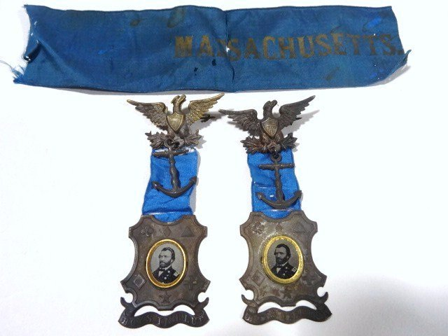 Pair Ulysses S Grant Ornate Corps Ferrotype Badges