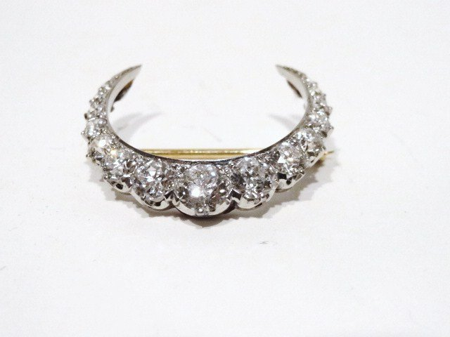 Tiffany Crescent Diamond Pin Brooch